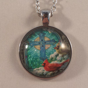 Silver Cross Cardinals Snow Cabochon Necklace!